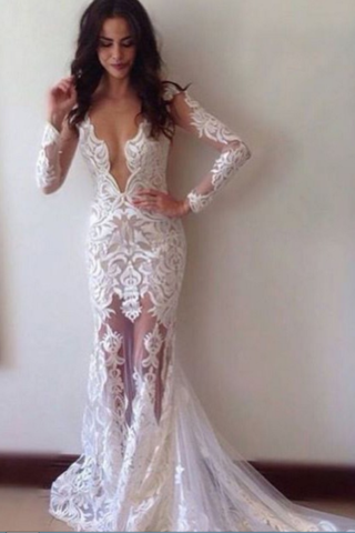 Sexy Sheath Lace Wedding Dress,Deep V-neck Wedding Dresses,Long Sleeves Wedding Dresses with Court Train,Long Formal Prom Dress