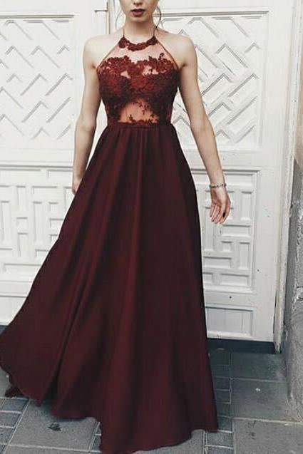 Charming Halter Maroon Prom Dress,Chiffon Floor Length Prom Gowns, Beautiful Prom Dresses, Long Party Dresses