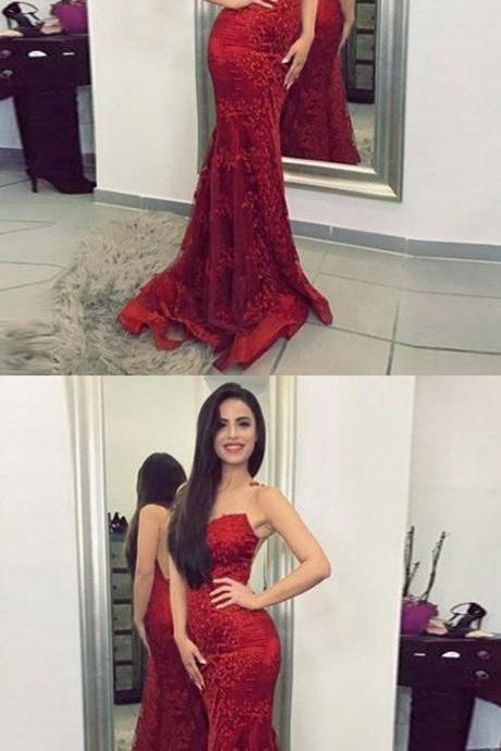 Mermaid Style Prom Dress,Burgundy Prom Dresses, Illusion Back Long with Appliques Formal Dresses