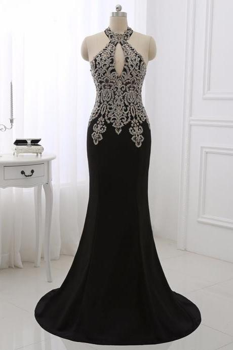 Black Long Formal Dress,Evening Dresses,Women Prom Party Gowns ,Gold Appliques Formal Dresses,Sexy Halter Mermaid Dress Sleeveless