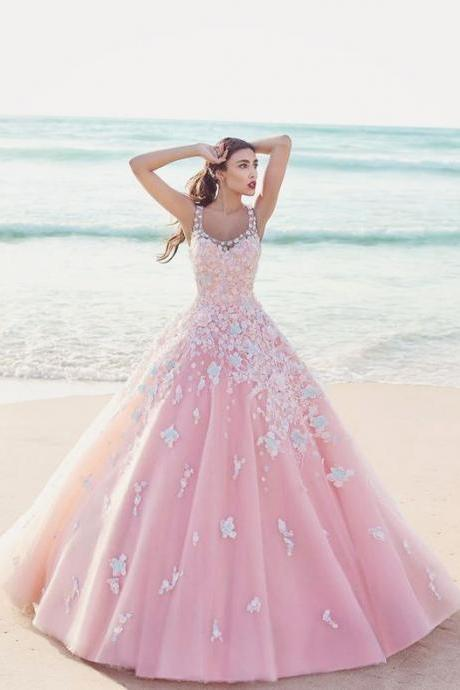 Custom Charming Pink Ball Gown Wedding Dresses,Applique Beading Wedding Dress,Pretty Spaghetti Straps Bridal Dresses,evening dresses,Prom Dresses