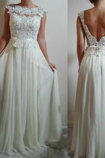 Sheer Round Neck Lace Appliqués Chiffon Floor-Length A-line Wedding Dress Featuring V-Back