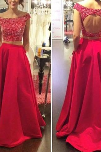 Red Prom Dresses,2 Piece Prom Gown,Two Piece Prom Dresses,Satin Prom Dresses,New Style Prom Gown, Prom Dress,Backless Prom Gowns With Cap Sleeves