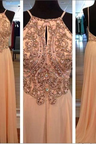 Gorgeous Scalloped Neckline Prom Dress,Sleeveless Strong Beaded Prom Dresses,Crystal Chiffon Long Prom Dresses,A-Line Cheap Evening Gowns Backless