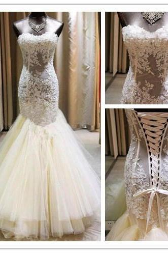 Strapless Sweetheart Wedding Dress,Sheer Lace Appliqués Wedding Dresses,Mermaid Wedding Dress, Featuring Lace-Up Back Bridal Dresses