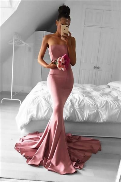 Strapless evening dress, simple prom dress, mermaid prom dresses,long formal gowns, pink mermaid, pink prom dresses