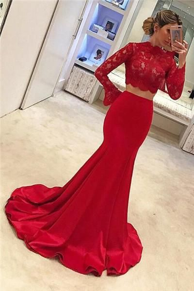 Two-piece prom dresses, sexy cheap prom dress ,red prom dresses ,lace prom dresses, charming evening dress, long sleeves mermaid Formal Dresses