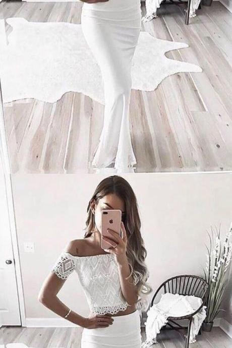 Two Piece Prom Dress,Off-the-Shoulder Prom Dresses,Short Sleeves Evening Dresses,White Prom Dress with Lace