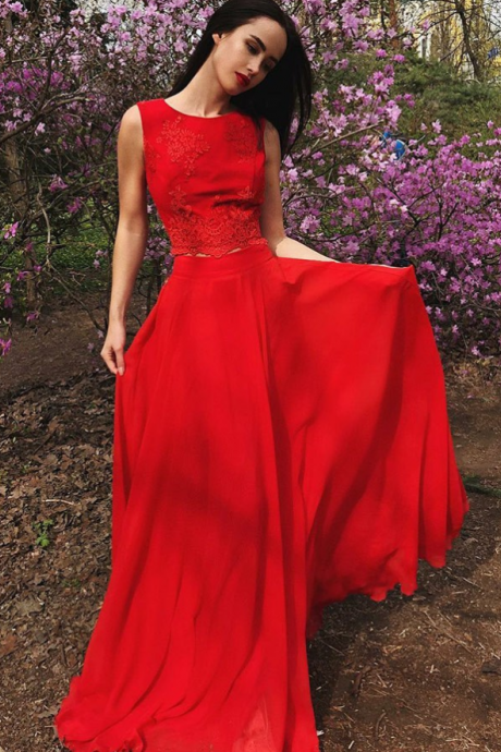 Two Piece Round Neck Red Chiffon Prom Dress with Appliques,Evening dress