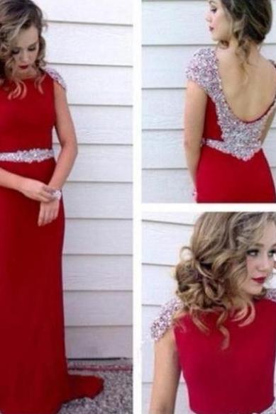 Red Crystal Long Sheath Satin Prom Dresses,Long Prom Dress, Party Dresses, Long Evening Dress,Graduation Dress