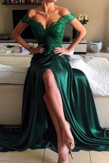 Dark Green Off Shoulder Sweep Train Legslit Prom Dress with Appliques,Long Prom Dress, Party Dresses, Long Prom Dress,Graduation Dress