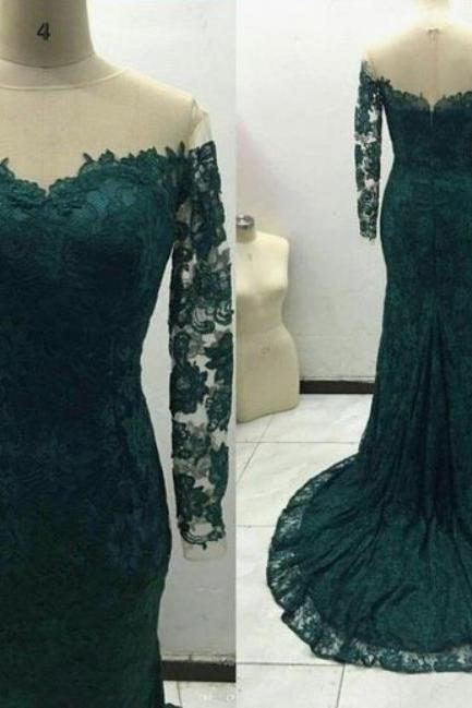 Long sleeve Teal Mermaid Prom Dresses, Lace Apllique Pageant Dress,Long Prom Dress, Party Dresses, Long Prom Dress,Graduation Dress
