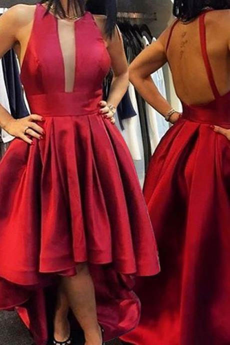 Red Halter Prom Dresses, High Low Party Dresses,Pleating Prom Dresses, Party Dresses, Prom Dress,Graduation Dress