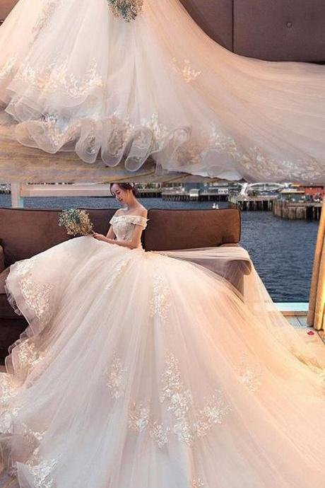 Attractive Tulle Wedding Dress,Off-the-shoulder Neckline Ball Gown Wedding Dresses,Wedding Dress With Lace Appliques & 3D Flowers & Beadings, High Quality ,Sexy Formal Evening Dress,Custom Made