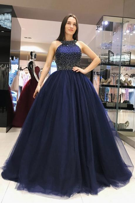 Navy Blue Halter Beading Prom Dresses Long Evening Dress Backless,Long Evening Dress , Party Dresses, Long Prom Dress,Graduation Dress