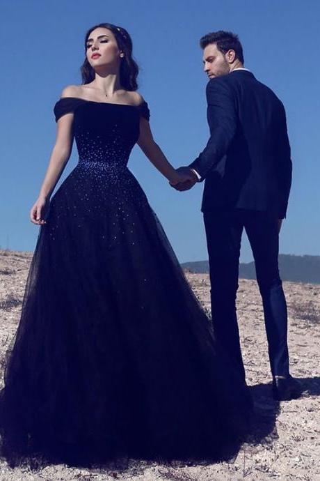 Elegant Navy Blue Prom Dress,Off the Shoulder Prom Dresses ,Tulle Beaded Lace-up Evening Gown,Long Evening Dress , Party Dresses, Long Prom Dress,Graduation Dress