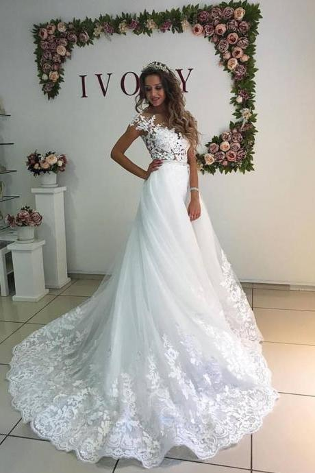 White Wedding Dress,Lace Wedding Dress,Bridal Dresses,Bridal Gown,Elegant Wedding Dress