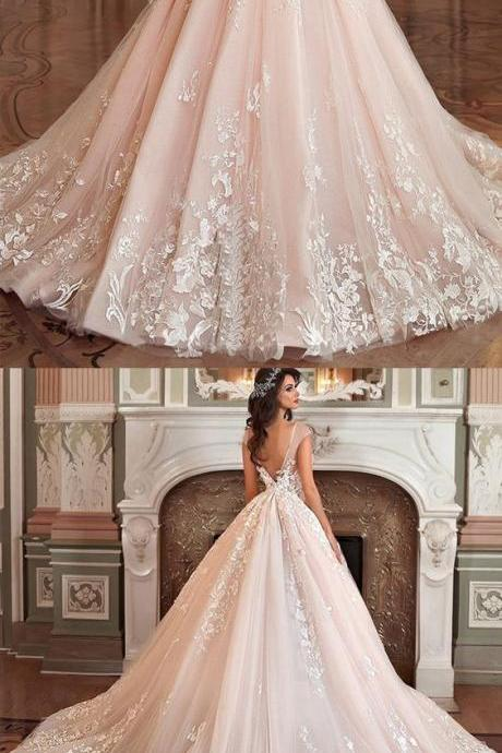 Stunning Tulle Organza Wedding Dress,Bateau Neckline Ball Gown ,Wedding Dresses With Lace Appliques ,3D Flowers Wedding Dresses,Beadings Prom Dresses,Long Evening Dress,Formal Gown