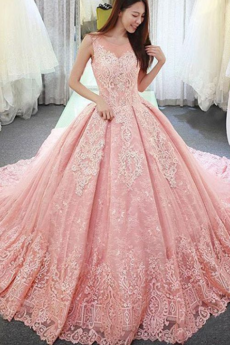 Fantastic Tulle Lace Wedding Dress,Jewel Neckline Ball Gown, Wedding Dress With Lace Appliques, Long Sleeves Wedding Dresses,Sweep Train Bridal Dresses ,Sexy Wedding Gown