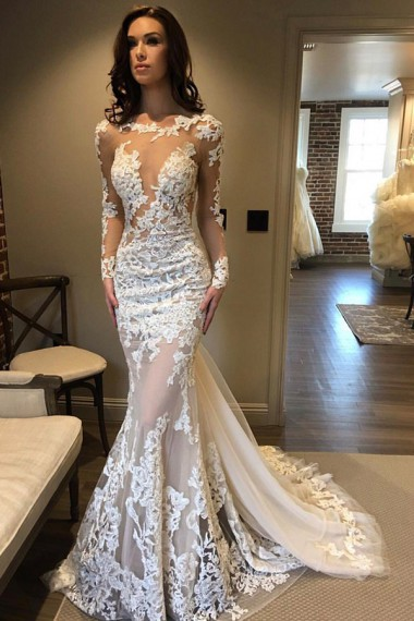 Mermaid Boat Neck Wedding Dresses,Sweep Train Ivory Tulle Wedding Dress with Appliques