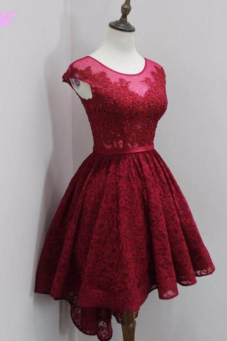 High Low Dresses,Prom Dresses,Wine Red Dresses,Lace Dresses