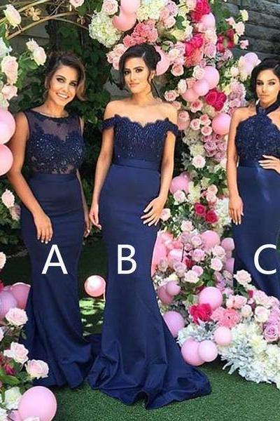 Mismatched Sexy Bridesmaid Dress,Different Mermaid Royal Blue Bridesmaid Dresses,Long Affordable Bridesmaid Dresses