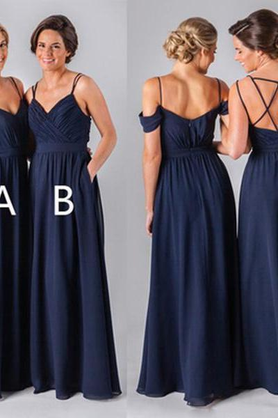 Chiffon Navy Blue Bridesmaid Dress,Formal Cheap Sexy Bridesmaid Dresses