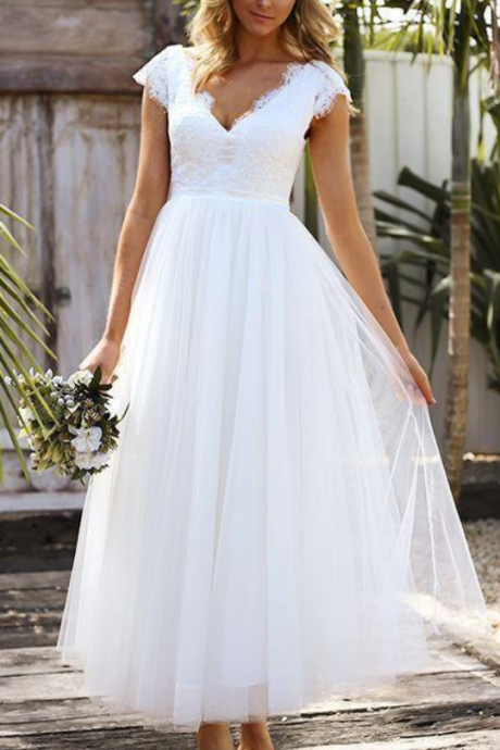 Tea Length Short Wedding Dresses Lace Tulle Modest Cap Sleeve V-neck Bohemian Beach Garden Bridal Gowns