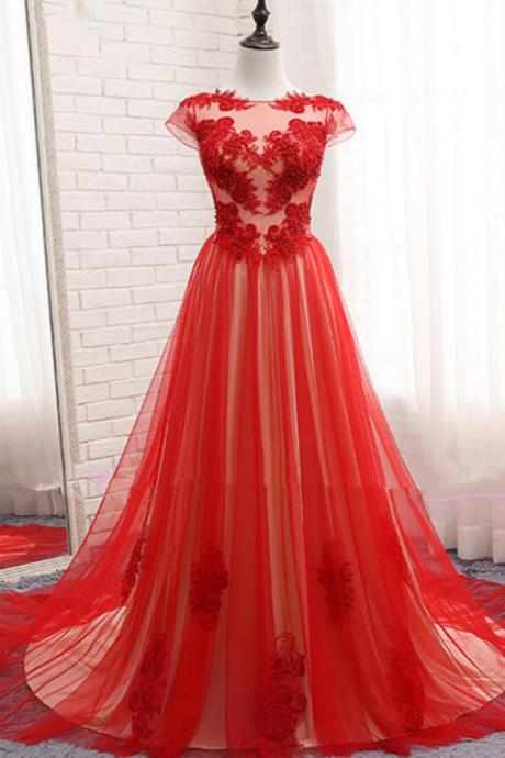 red tulle scoop neck long prom dresses,cap sleeves evening dress with lace appliqués,evening dress,long formal dress,backless prom dress,slit side dresses