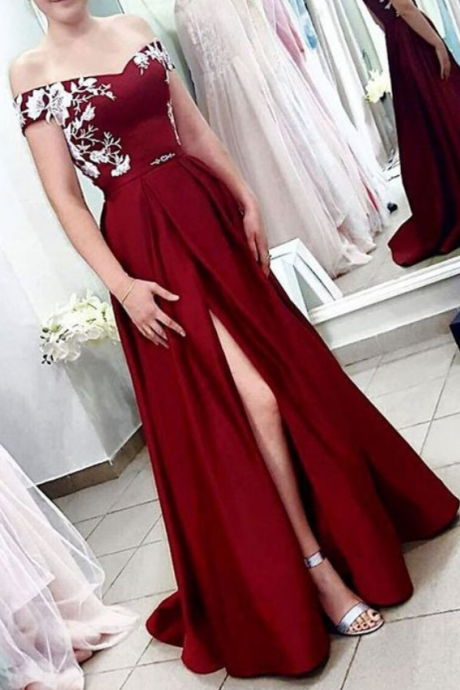 Sexy A Line Burgundy Satin Prom Dress, Lace Prom Gowns , Formal Evening Dress With Slit , Plus Size Prom Gowns