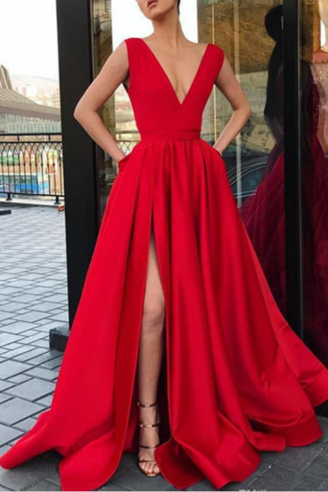 Red Prom Dresses, Long Cheap A Line Prom Dress,Deep V Neck Split Evening Gowns, Women Cocktail Party Dress, Formal Gown