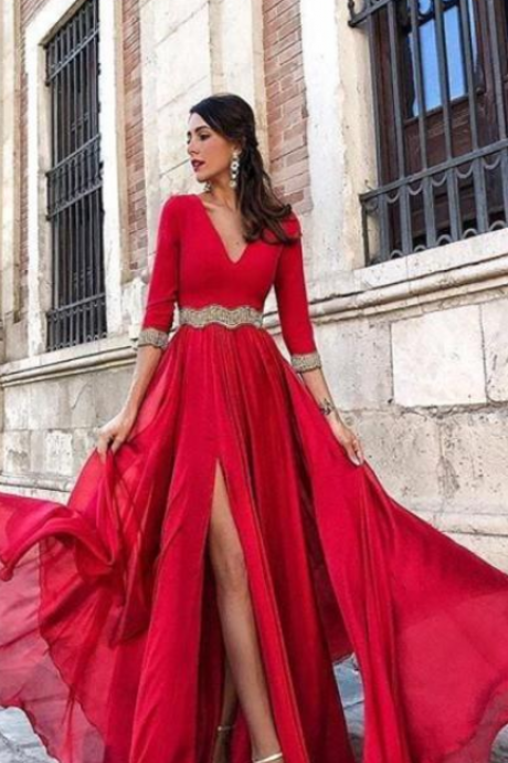 Red Evening Dresses ,High Side Split A Line V Neck Prom Dresses,Long Sleeves Chiffon with Sash Prom Dress, Arabic Pageant Gowns