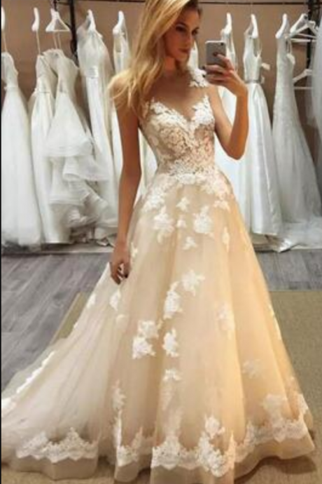 Gorgeous Champagne Lace Wedding Dresses, A Line Sheer Jewel Neck Wedding Dress,Appliques Bridal Gowns ,Floor Length Wedding Dress ,Robe De Mariage