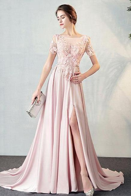 3D Flower Appliques Prom Dress,Sexy Bateau Neck , Short Sleeves Evening Dress,Floor Length Sweep Train Party Gown, Sexy High Slit ,Pink Tulle Prom Dress,High Quality ,Sexy Formal Evening Dress