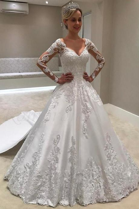 V-Neck Wedding Dress,Long Sleeves Wedding Dresses,Watteau Train Wedding Dress with Appliques ,High Quality ,Sexy Formal Evening Dress