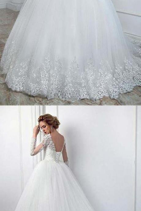 Elegant Bateau Neckline Bridal Gown ,Wedding Dress With Lace Appliques ,High Quality Wedding Dresses,Sexy Bridal Dresses