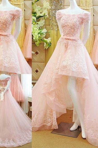 Lace and Tulle Party Dress,Lace Appliqués Prom Dresses,Off the Shoulder, High Low Formal Occasion Dress