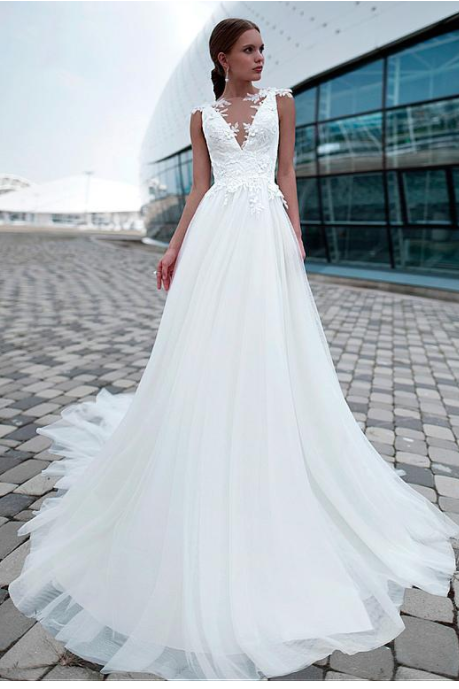Fabulous Tulle Jewel Neckline Wedding Dresses,A-Line Wedding Dress With Lace Appliques & 3D Flowers & Beadings, Sexy Wedding Gown