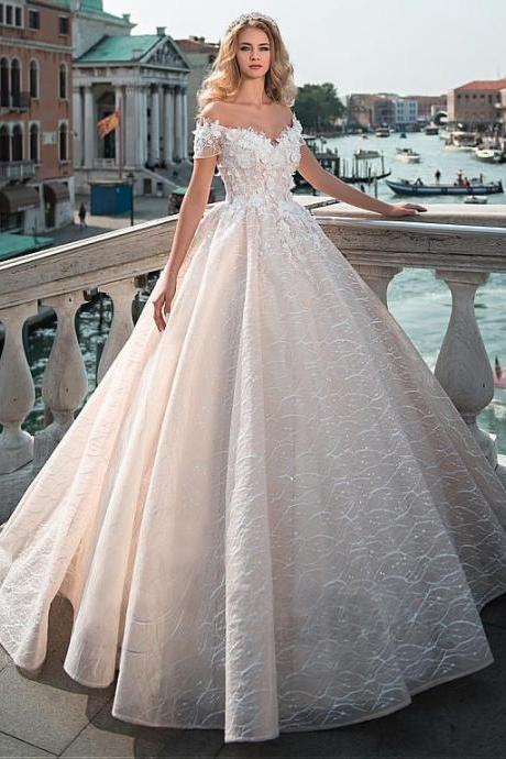 Fabulous Off Shoulder Neckline Bridal Dresses,A-Line Wedding Dress With Lace Appliques & 3D Flowers & Beadings, Sexy Wedding Gown