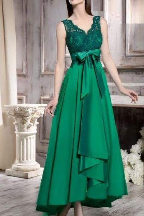 dark green prom dress, high low dress, sleeveless v neck prom dresses,belt with bow knot ,Formal Evening Dress