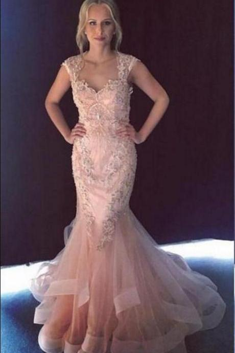 Gorgeous Mermaid Evening Dresses,Sweetheart Cap Sleeves, Beaded Appliques Tulle Backless Prom Dresses,Champagne Pink Evening Gowns Prom Dress,Floor Length Formal Gowns