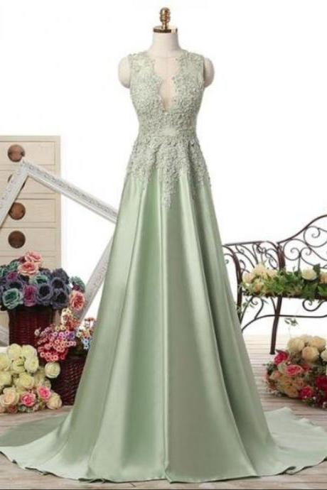 Elegant A Line Long Prom Dresses, Satin With Applique Lace Evening Party Dress ,Sexy Formal Evening Dress,Custom Made Evening Dress