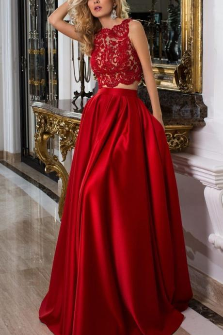 Red Two Pieces Prom Dress with Lace Crop Top,Satin Prom Dress,Long Evening Dress,Evening Dresses