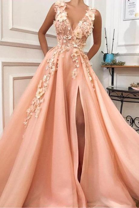 Charming V neck party dress Long Prom Dress,Tulle Evening Party Dress with Flower ,Evening Dress,Prom Dresses