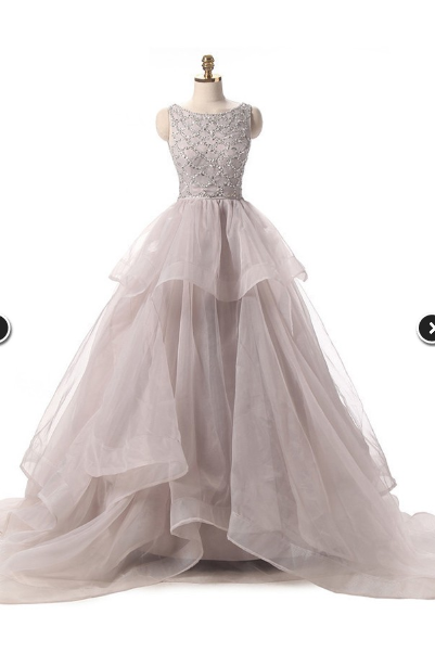 Different Ball Gown Scoop Neck Organza Prom Dress,Beading Sweep Train Backless Prom Dresses,Tulle Evening Dress,Prom Dresses