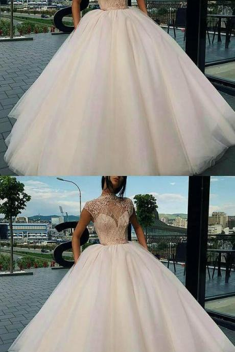 High Neck Sweep Train Champagne Tulle Prom Dress with Beading Appliques,Tulle Evening Dress,Prom Dresses