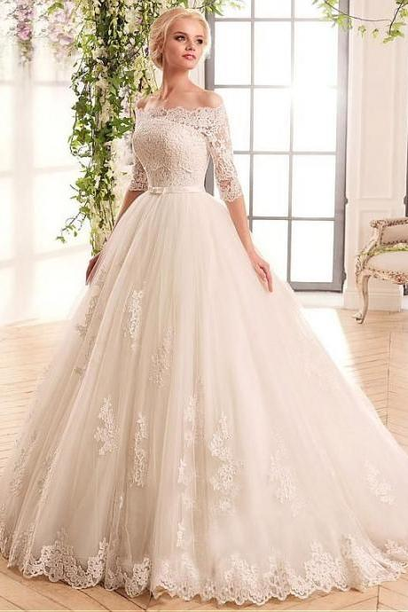 Marvelous Tulle wedding dress ,Satin Off-the-shoulder bridal dress ,Neckline Ball Gown Wedding Dresses With Lace Appliques,elegant wedding drsees,a-line wedding dresses