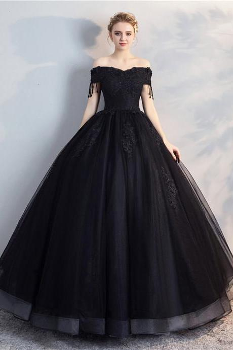 Off the Shoulder Prom Dress, Black Ball Gown Prom Dress,a-line wedding dresses