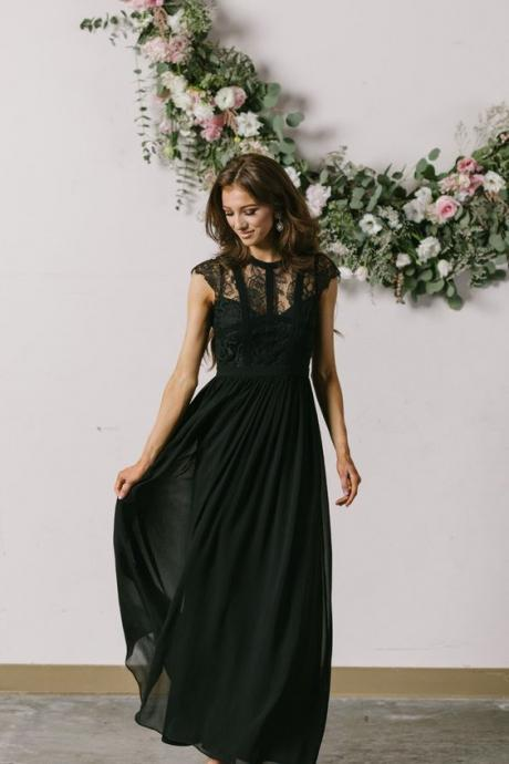 Celine Black Prom Dress, Capsleeve Lace Maxi Dress,Half sleeves formal evening dress