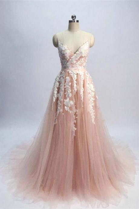 Women's Strapless evening dress, A-line ball gowns Tulle Prom Dress ,Lace Appliques Floor Length formal Dress